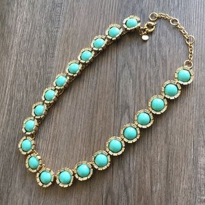 JCrew Water Lily Turquoise/Crystal Necklace